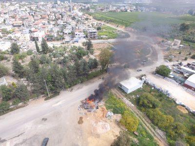 שריפת פסולת בג'לג'וליה. צילום אזרחים למען אוויר נקי