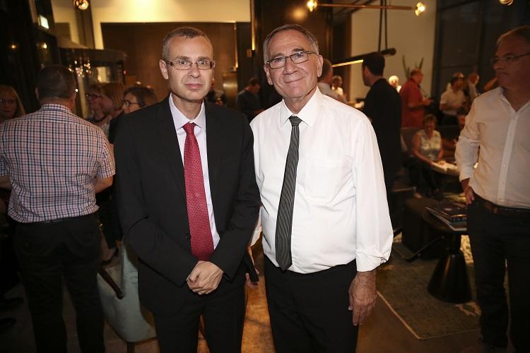 שר התיירות יריב לוין וראש עיריית הרצליה משה פדלון. צילום: אלירן אביטל