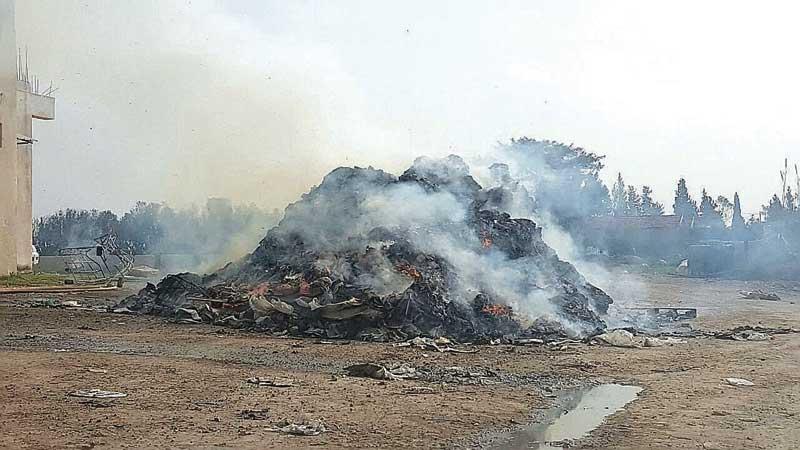 שריפת פסולת בקלאנסווה. צילום: אזרחים למן אוויר נקי