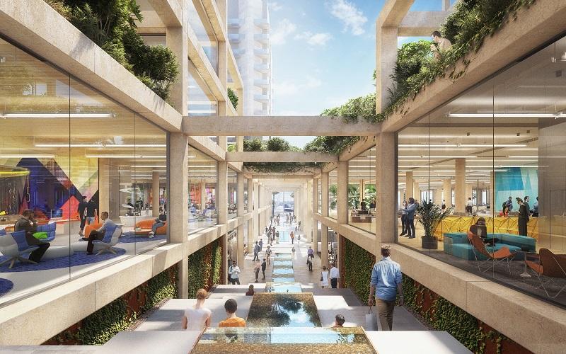 הדמיית קניון ארנה המחודש: קרדיט: משרד האדריכלים נורמן פוסטר