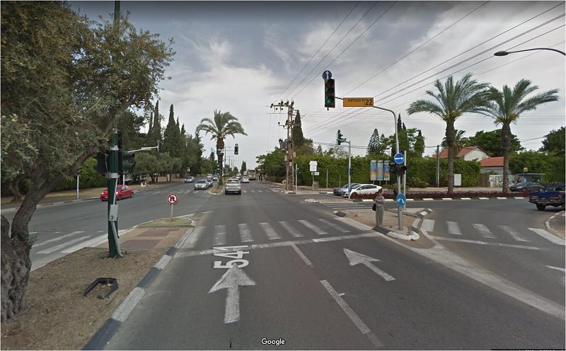 צומת כצנלסון - דרך ירושלים. צילום מגוגל מפות