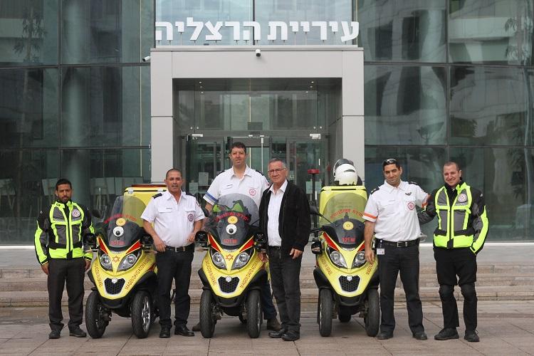 חנוכת האופנועים החדשים. צילום: עיריית הרצליה
