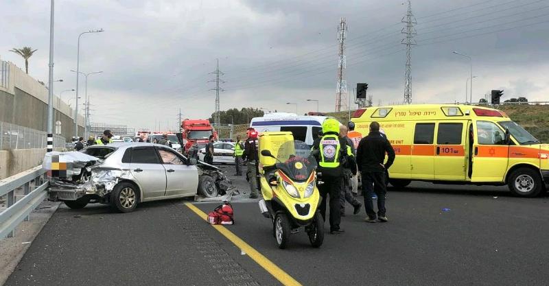 """תאונת הדרכים סמוך למחלף 531. צילום: תיעוד מבצעי מד""""א"""