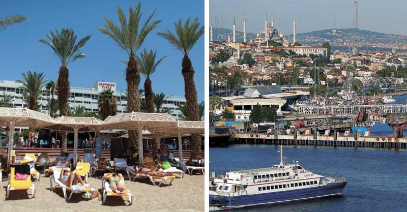 רק שאלה - מימין: נופש בטורקיה, נופש באילת. צילומים רויטרס, דניאל בר און