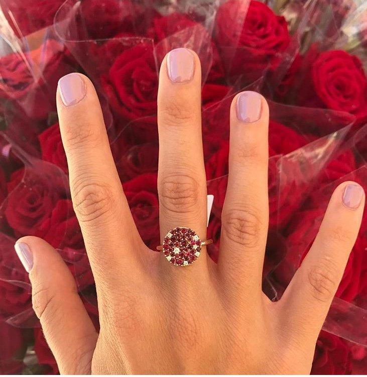 טבעת רובי ויהלומים 18 קראט