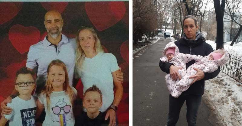 מימין: מירב והתאומות באוקראינה. משמאל: הזוג ג'נאח ושלושת ילדיהם