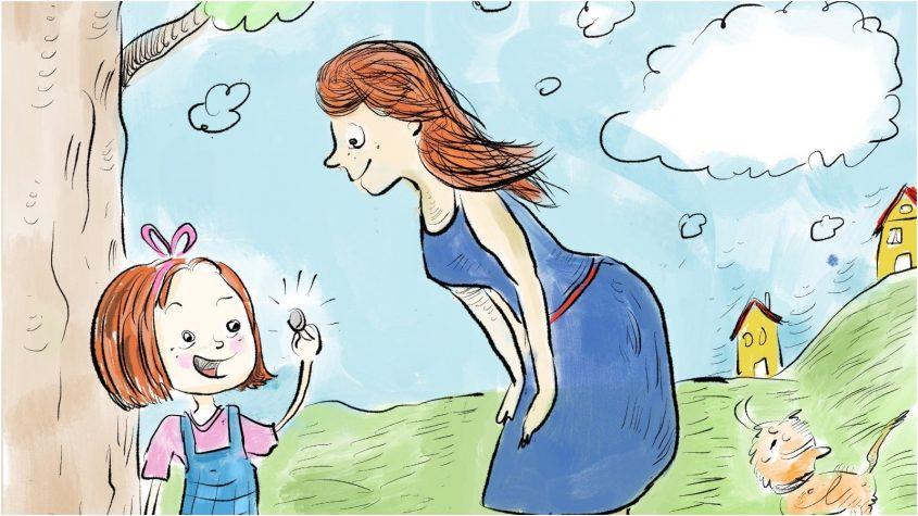 """ורד יה6דה. """"אמא, אמא, תראי!"""". איור מתוך הספר """"התגלית של גלית - כסף לא גדל על העצים"""". מאייר: עוזי בנימין"""