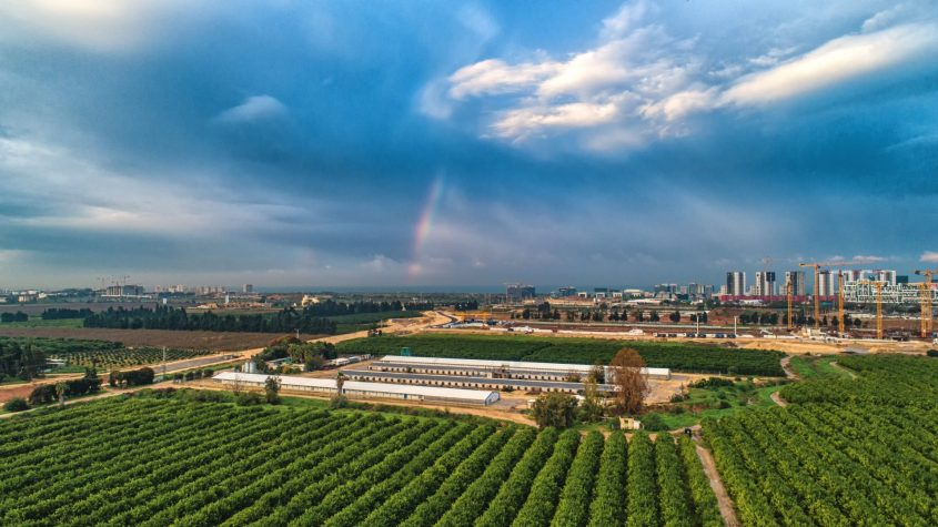 קשת בענן מעל אזור התעשייה ומערב הרצליה