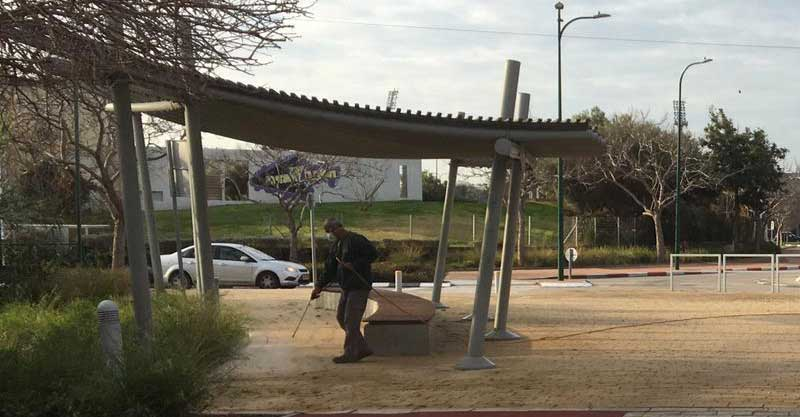 עובדי הדברה מרססים בפארק הרצליה