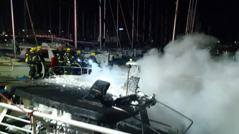 השריפה במרינה. צילום משטרת ישראל