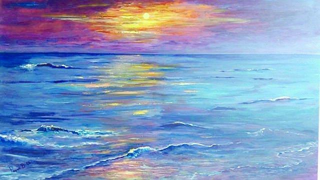 ציור של ננסי פרוכטמן ים בשקיעה