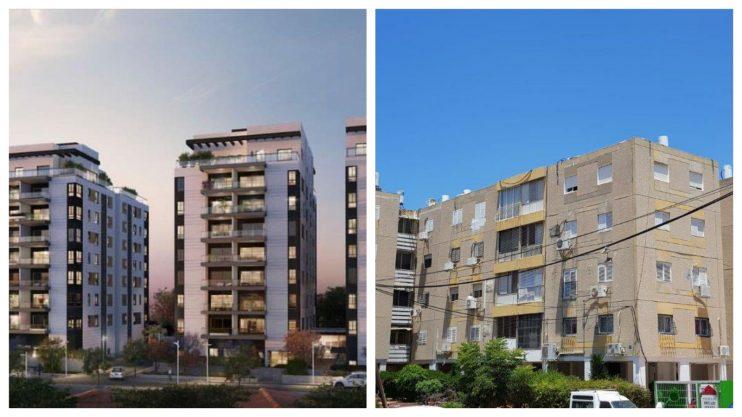 הבניינים בעזרא הסופר, והדמייה של הבניינים החדשים