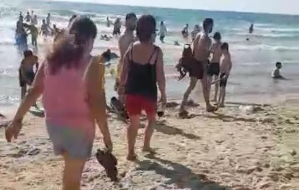 נשים חוצות את החוף הנפרד ביום שישי. צילום עמיעד שרבט