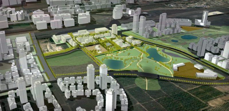 """הדמיית תוכנית """"בין ערים"""" בשטח מט""""ש הרצליה. הדמייה: נעמה מליס אדריכלים."""