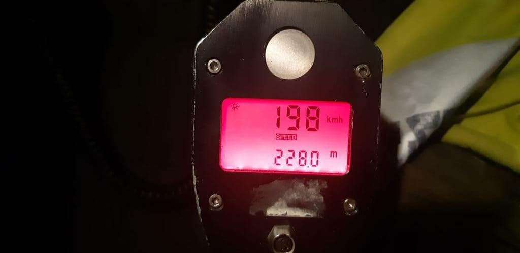 מד הלייזר עם מהירותו של הנהג. צילום דוברות המשטרה