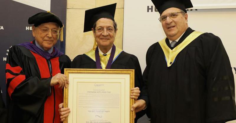 מימין לשמאל: אודי רקנאטי, ניקוס אנסטסיאדיס ופרופ' אוריאל רייכמן. צילום גלעד קוולרצ'יק
