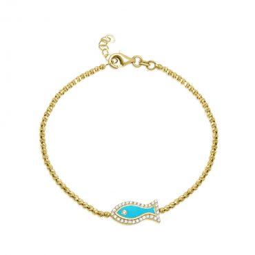 צמיד זהב כדורים דג אמייל זרקונים. באדיבות פרנקו תכשיטים
