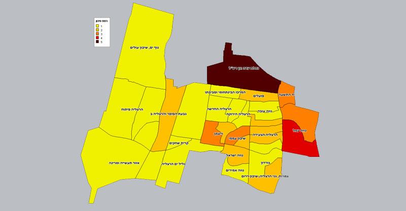 מפת רמת הסיכון של השכונות בהרצליה