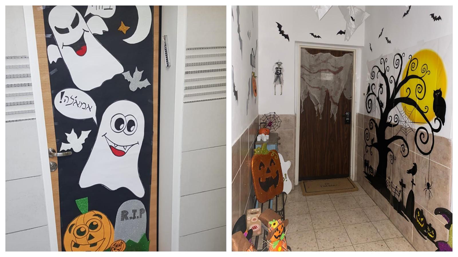 חזית הדירה של מיטל הרשקוביץ (מימין) והדלת של קארין בוארון