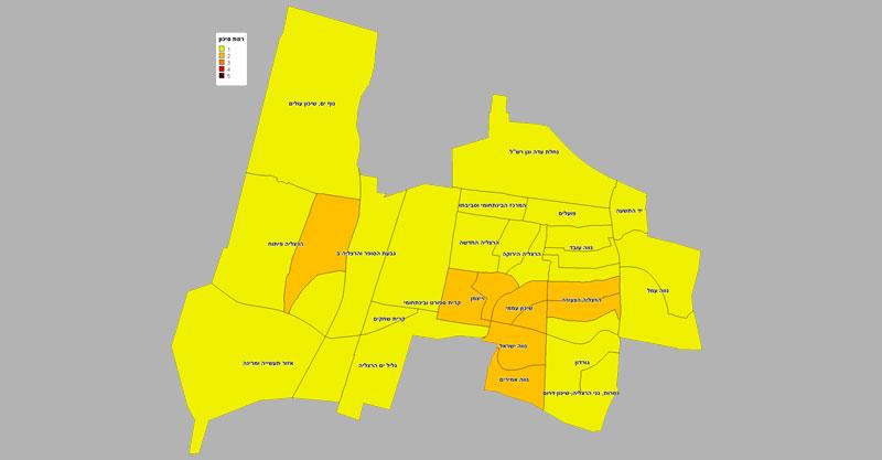 מפת רמת הסיכון בשכונות בהרצליה