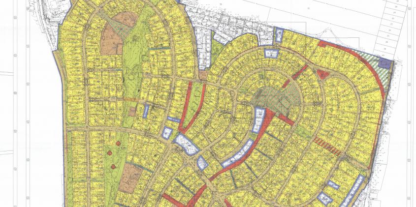 תרשים חלקה הצפוני של תכנית שכונת נווה עמל (אתר משרד האוצר – תכנון זמין)